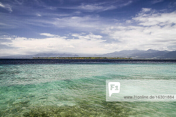 Indonesia  Lombok  Isle Gili Air  View from beach of Isle Gili Mono to Isle Gili Air