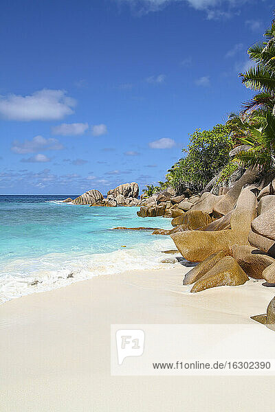 Seychelles  View of the Anse Cocos beach at La Digue Island