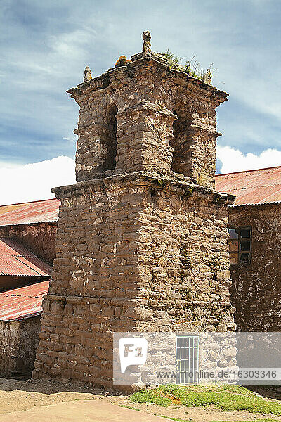 South America  Peru  Puno  Taquile  old tower