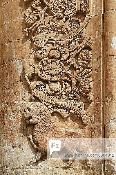 Turkey  Eastern Anatolia  Agri Province  Dogubeyazit  interior of Ishak Pasha Palace  Gate to Harem  Stone carving  Lion