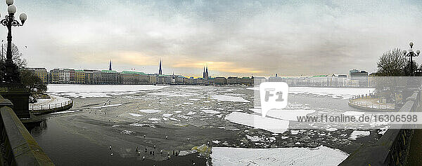Germany  Hamburg  panorama of Alster river in winter
