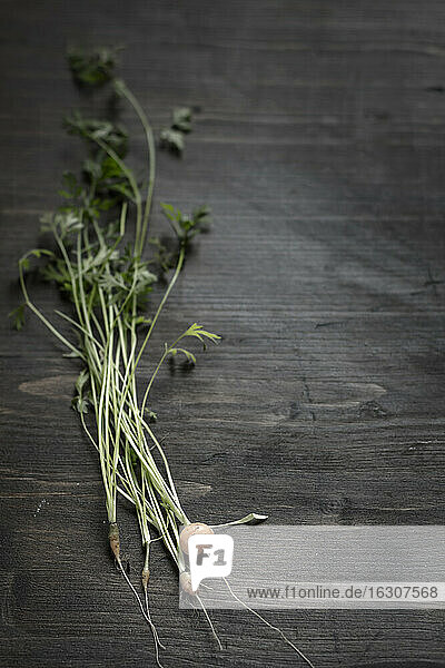 Fresh baby carrots with stems and leaves on wooden board