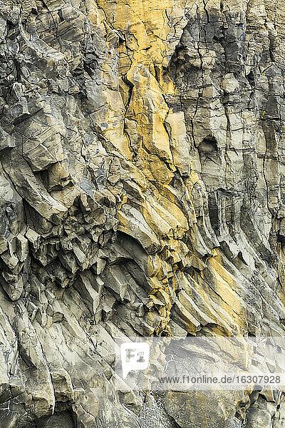 Iceland  Sudurland  Close up of cliff near Vik