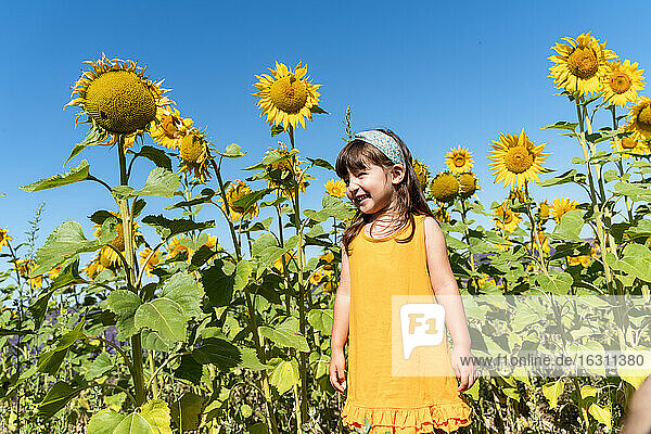 Cute smiling girl standing in sunflower field during sunny day