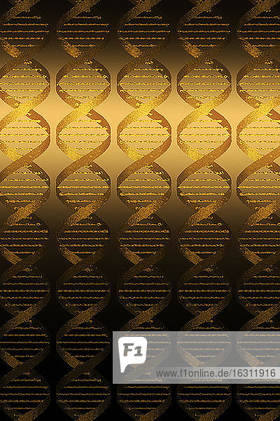 DNA helixes on gold background