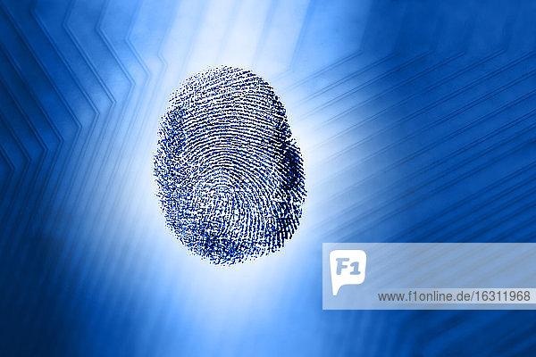 Fingerabdruck gegen blaues Leiterplattenmuster