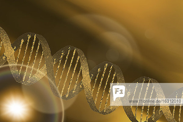 DNA helix on gold background