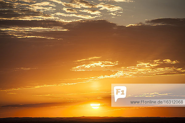 USA  South Dakota  Cloudscape with setting sun