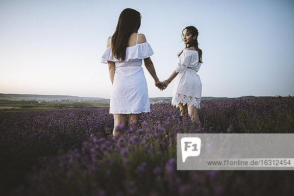 Frankreich  Frauen in weißem Kleid im Lavendelfeld