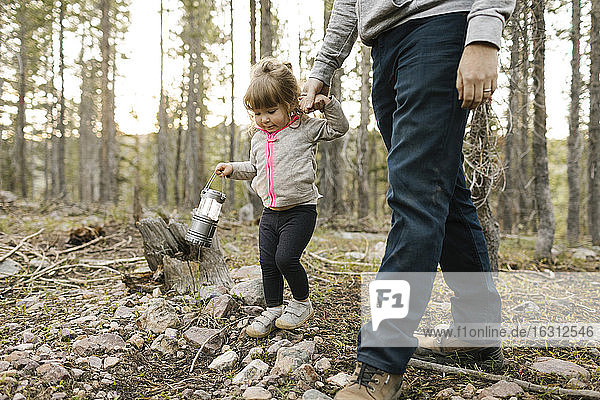 Father with daughter (2-3) walking in forest  Wasatch Cache National Forest