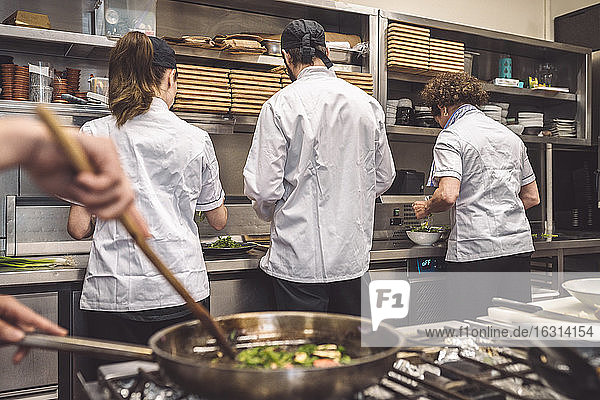 Rear view of chefs working on kitchen counter in restaurant