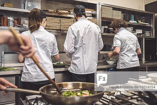 Rückansicht von Köchen  die im Restaurant an der Küchentheke arbeiten