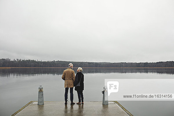 Rear view of senior couple talking while standing by lake against clear sky