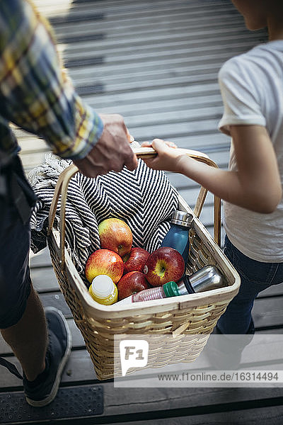 Father and daughter holding picnic basket full of apples on footbridge