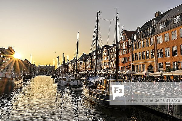 Sunset at the busy Nyhavn Canal  amusement district  Copenhagen  Denmark  Europe