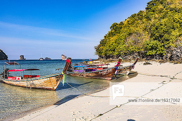 Longtail boats on Tup Island  Krabi Province  Thailand  Southeast Asia  Asia