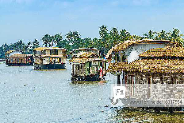 Kerala houseboats cruising Lake Vembanad  longest lake in India  during a backwater tour  Alappuzha (Alleppey)  Kerala  India  Asia