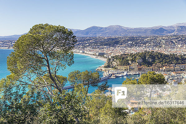 View from Mont Boron to Nice  Alpes Maritimes  Cote d'Azur  French Riviera  Provence  France  Mediterranean  Europe
