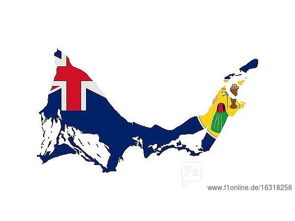 Flagge in Form des geografischen Landes  Turks- und Caicosinseln  Nordamerika