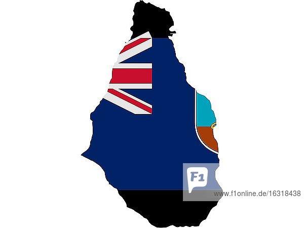 Flagge in Form des geografischen Landes  Montserrat  Nordamerika