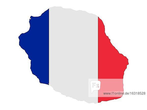 Flagge in Form des geografischen Landes  Réunion  Afrika