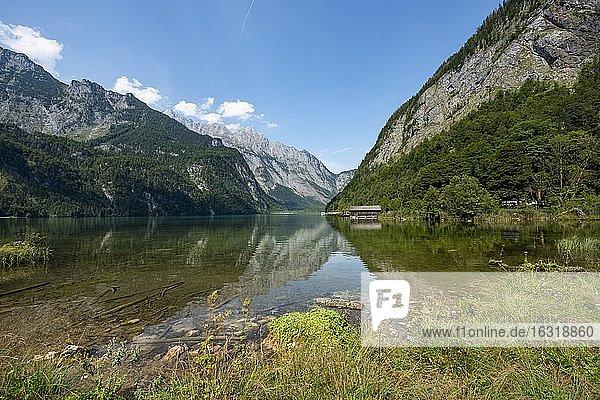 Berge spiegeln sich im See  Ausblick auf Salet Bootsanleger mit Watzmann  Königssee  Berchtesgadener Land  Oberbayern  Bayern  Deutschland  Europa