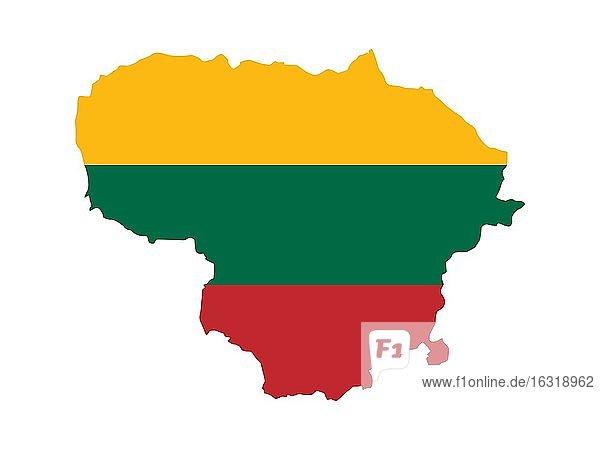 Flagge in Form des geografischen Landes  Litauen  Europa