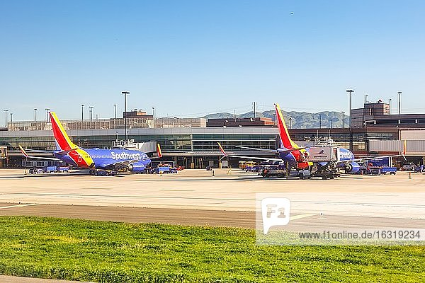 San Jose  United States  10 April 2019: Southwest Airlines Boeing 737-700 aircraft at San Jose (SJC) Airport in the United States  North America