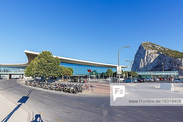 Gibraltar Airport Terminal (GIB) with the Monkey Rock in the background  Gibraltar  Europe
