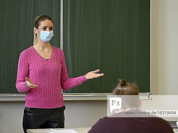 Teacher with face mask  Corona crisis  Baden-Württemberg  Germany  Europe