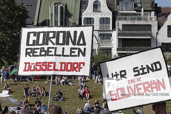 Transparent corona rebels  demonstration against corona rules on the Rhine meadows  Düsseldorf  North Rhine-Westphalia  Germany  Europe
