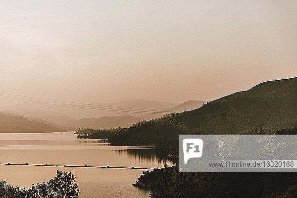 Tranquil sunset lake view  Whiskeytown Lake  Redding  California  USA