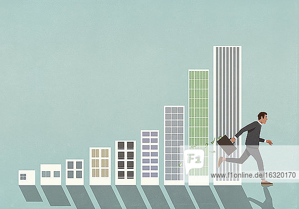 Businessman with briefcase of money running past buildings bar chart