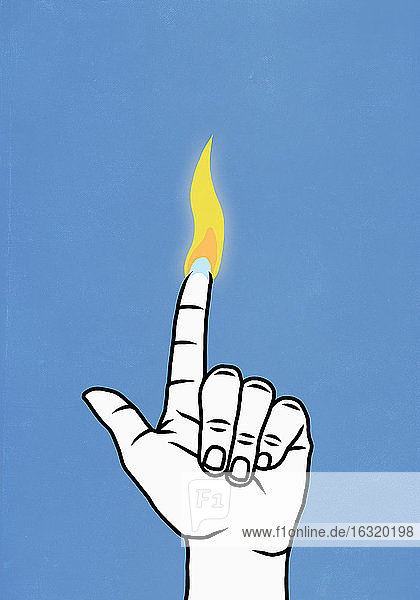 Finger with flame