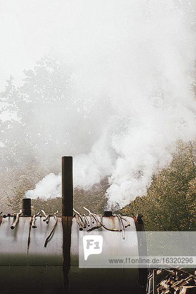 Smoke rising from smoker