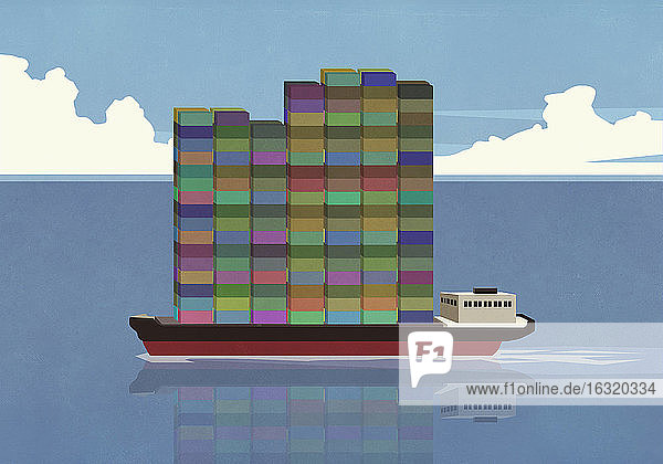 Tall stack of cargo containers on container ship in ocean