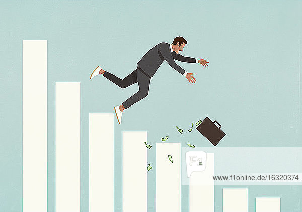 Businessman with cash briefcase falling from bar graph