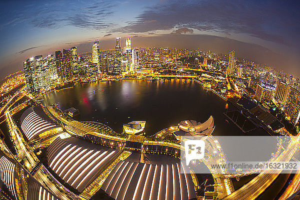 Singapore  View to Marina Bay in the evening
