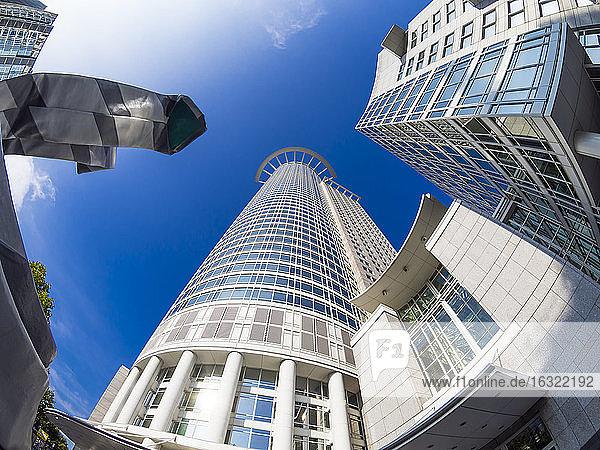 Germany  Hesse  Frankfurt  Westend Tower  DZ Bank Headquarters  fisheye  low angle view