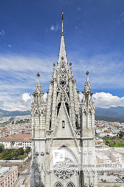 Ecuador,  Quito,  church steeple of the Basilica of the National Vow