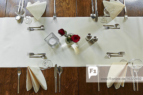 Germany  Festivly laid table for a celebration in a restaurant