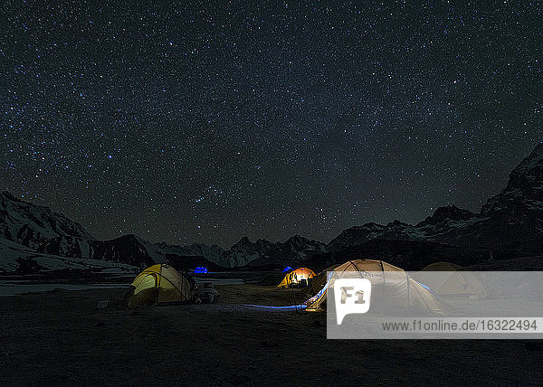 Nepal  Himalaya  Khumbu  Ama Dablam base camp at night