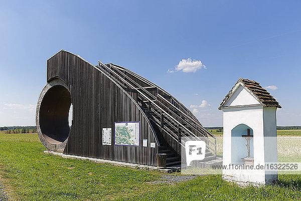 Austria  Burgenland  Strem  wayside shrine and green energy wheel