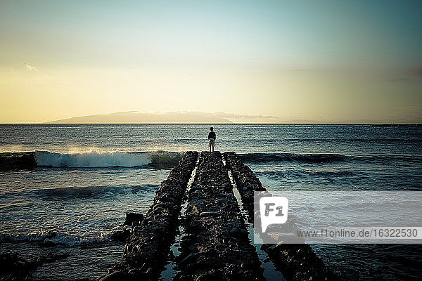 Spain  Canary Islands  Tenerife  back view of child standing at pier looking at the sea