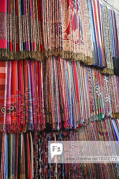 Morocco  Marrakesh  colorful fabrics on souk