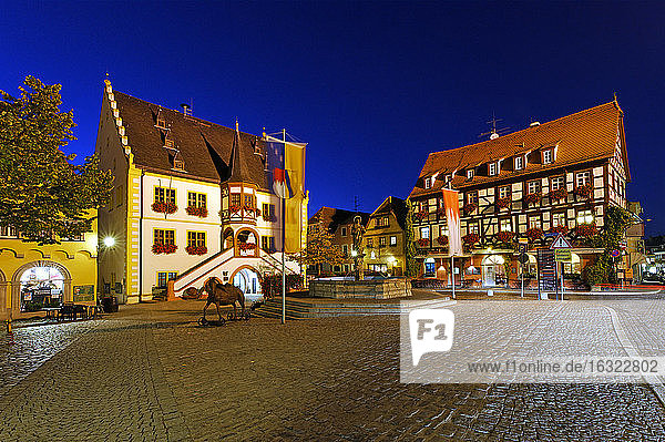 Germany  Volkach  town hall on market square at night