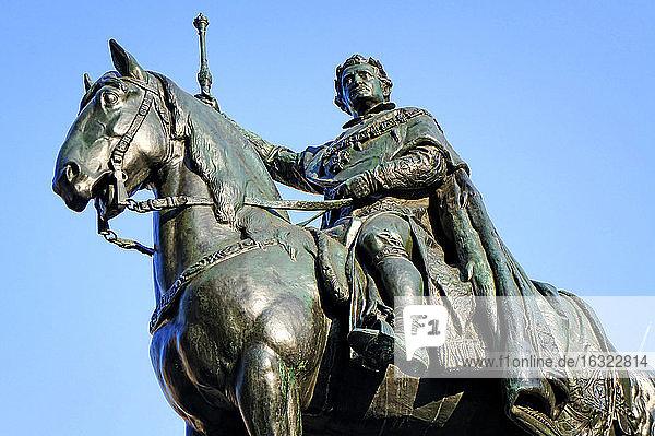 Germany  Bavaria  Regensburg  equestrian statue King Ludwig I