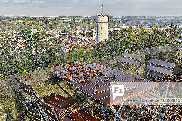 Germany  Baden-Wuerttemberg  Ravensburg  town tower Mehlsack and town in autumn