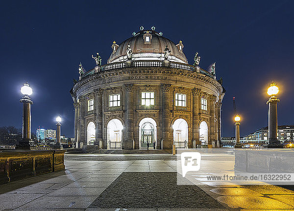 Germany  Berlin  view to lighted Bode Museum at Museumsinsel