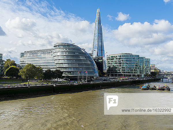 UK  London  view to City Hall and The Shard with River Thames in the foreground